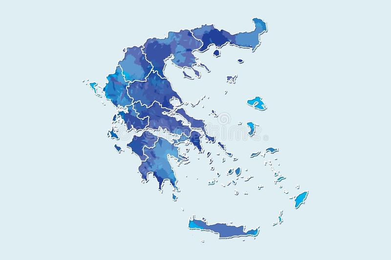 Greece watercolor map vector illustration of blue color with border lines of different regions or provinces on light background. Using paint brush in page royalty free illustration
