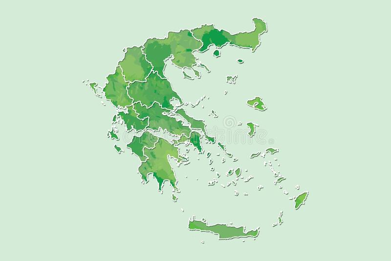 Greece watercolor map vector illustration of green color with border lines of different regions or provinces on light background. Using paint brush in page vector illustration