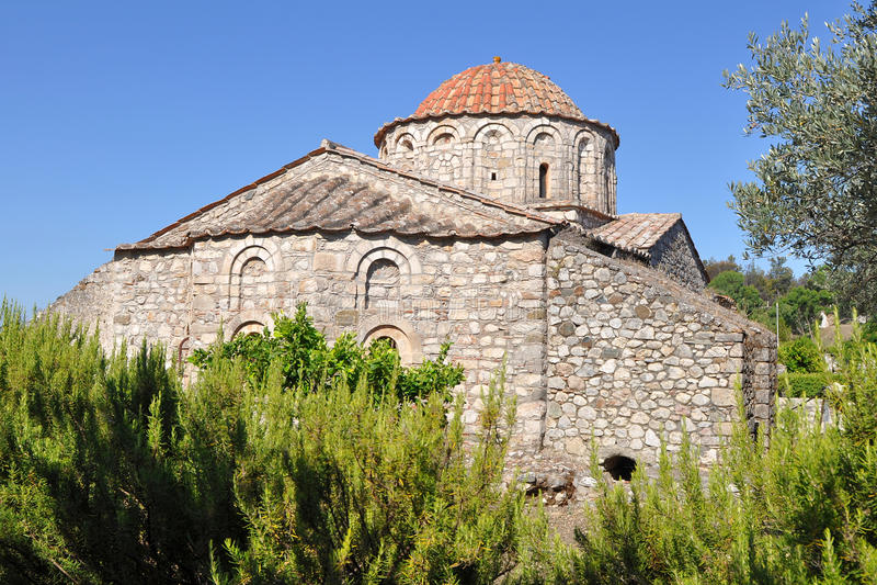 greece wyspy monasteru moni Rhodes thari fotografia stock