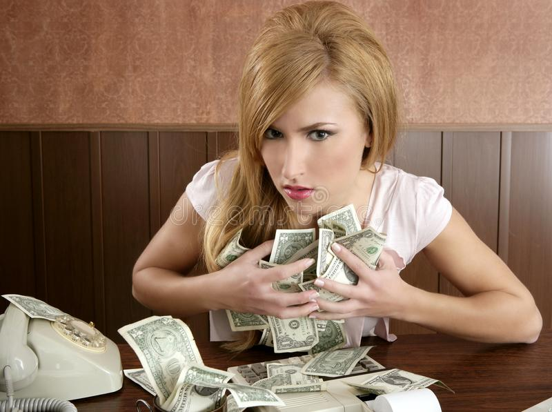 Greed money retro woman office vintage accountant royalty free stock images