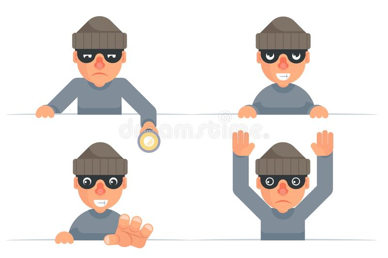 Greedily evil thief grabbing hand flashlight peeping out surrender give up cartoon characters set flat design isolated. Greedily evil thief grabbing hand royalty free illustration