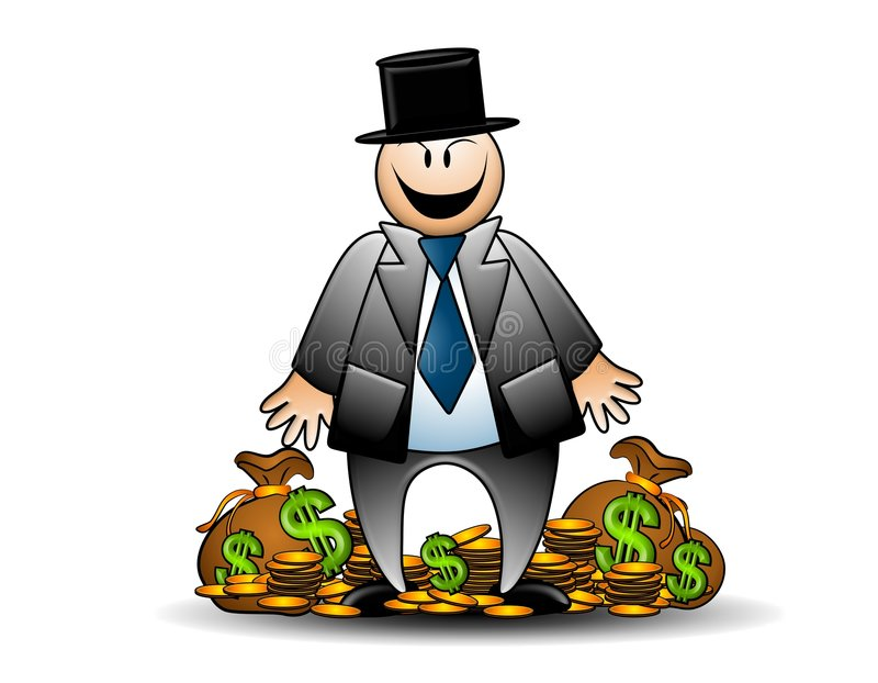 Greedy Banker With Money Grinning stock illustration