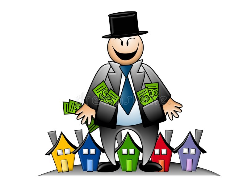 Greedy Banker With Money and Houses royalty free illustration