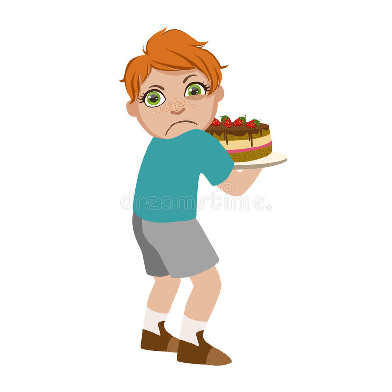 Greedy Boy Not Sharing Cake, Part Of Bad Kids Behavior And Bullies Series Of Vector Illustrations With Characters Being stock illustration