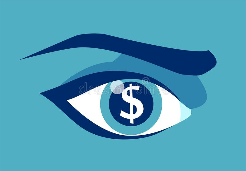 Greedy eye with dollar sign in pupil. Vector picture of greedy eye with dollar sign in pupil stock illustration