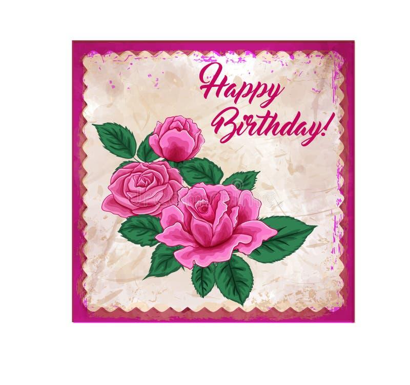 Greeeting Kartenrosen alles Gute zum Geburtstag vektor abbildung