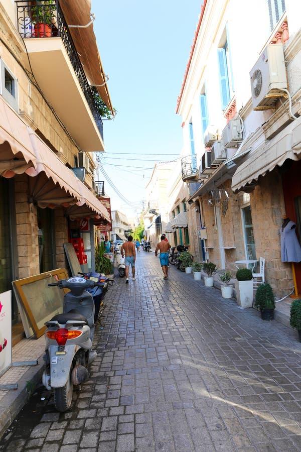 Greek Alley - Aegina island, Greece stock photography