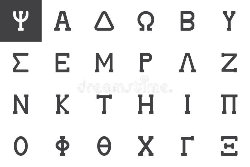 Greek alphabet symbols vector icons set stock illustration