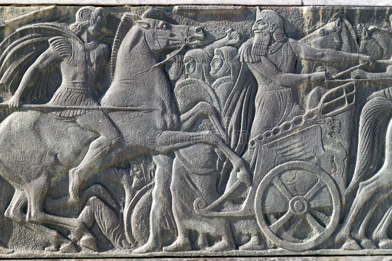 Greek ancient alike plaque at Great Alexander monument, Greece stock images