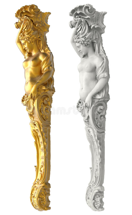 Greek ancient statue of the Caryatids on white background. Isolated royalty free stock photos