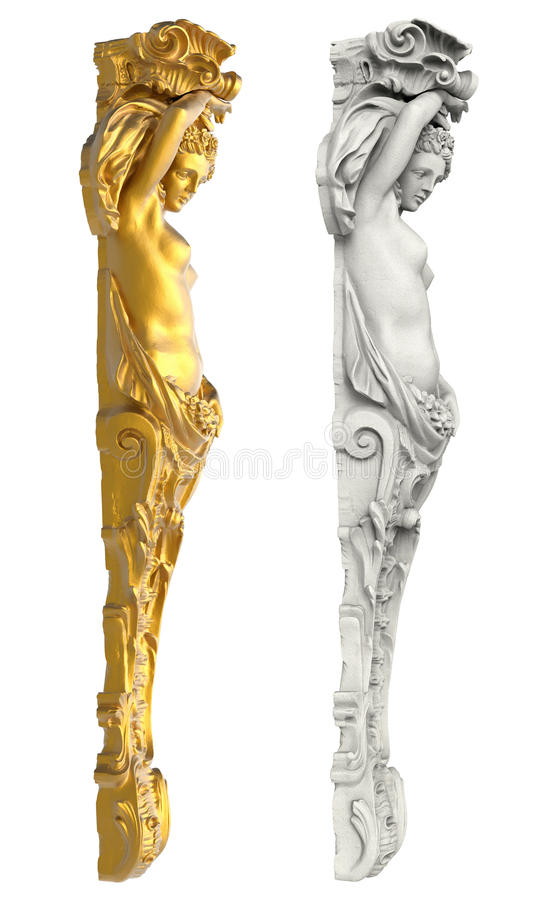 Greek ancient statue of the Caryatids on white background. Isolated royalty free stock photo