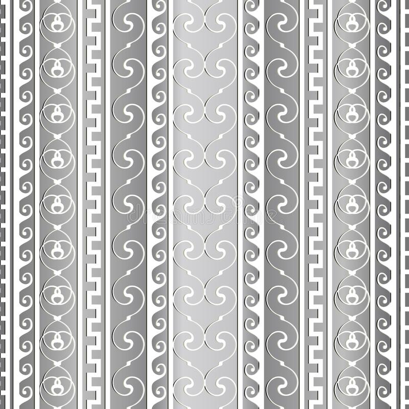 Greek ancient vector border seamless pattern. Striped light patterned abstract background. Vertical stripes, borders, waves, line. S. Vintage ornaments with grek vector illustration