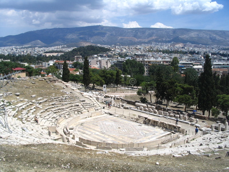 Download Greek antique theatre stock image. Image of cariathides - 718759