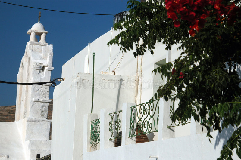 Greek Architecture With Flowers Stock Photo