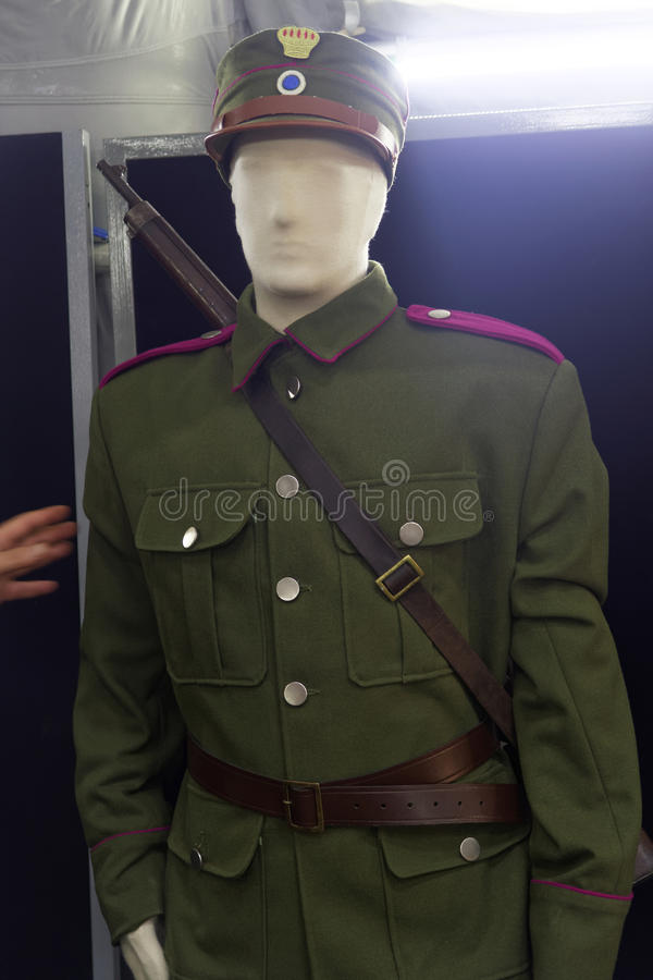 Greek armed forces historic horse rider Balkan wars uniform. This uniform was used in the Balkan Wars by members of the Greek Army cavalry royalty free stock image