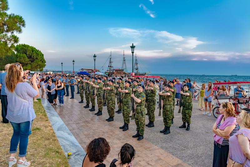 Greek army soldiers doing a demonstration in Thessaloniki stock photo