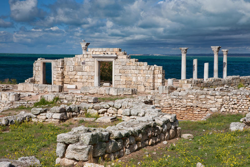 Greek Basilica in Chersonesus stock photography