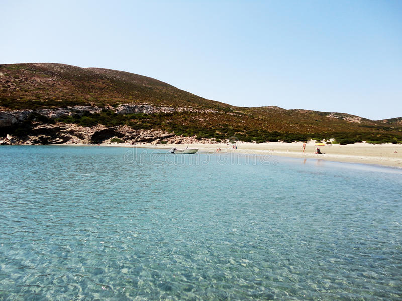 Greek beach in Despotiko Island, Greece royalty free stock photo