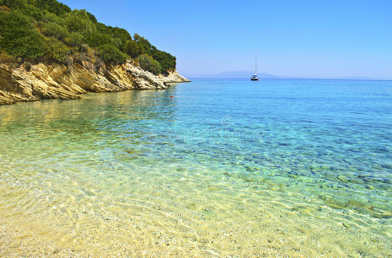 Greek beach landscape at Ithaca island - Ionian islands. Beach at Ithaca Ionian islands Greece stock images