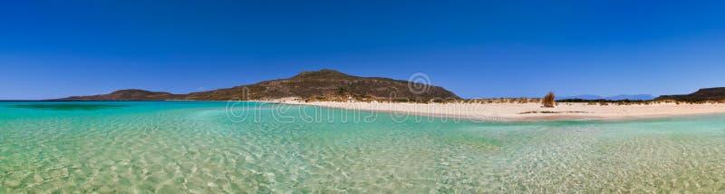 Greek beach panorama stock images