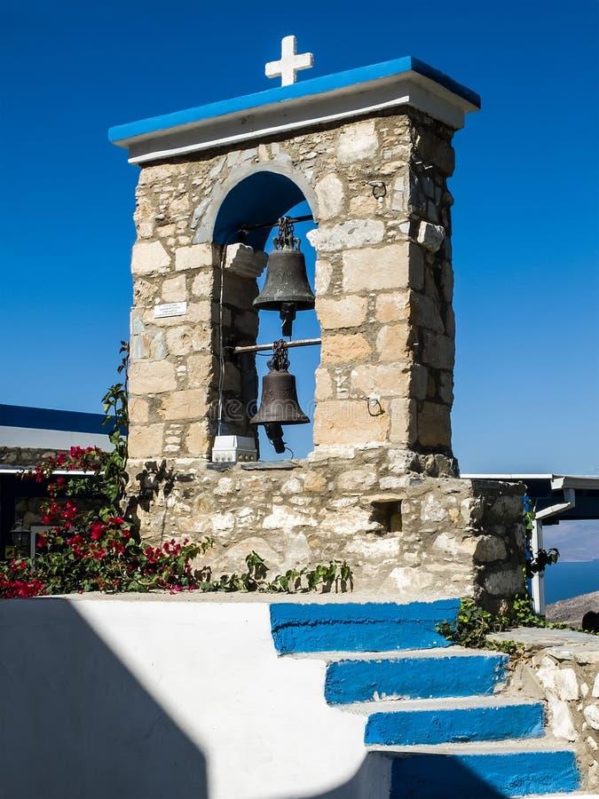 Greek Belfry. Belfry of church in Zia, Kos Island, Greece royalty free stock images