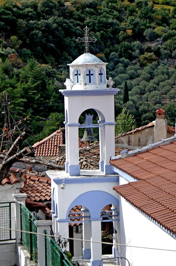 Greek bell tower in Samos Greece stock photo