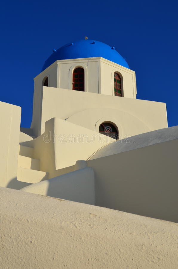 Greek Blue-domed building. stock photos