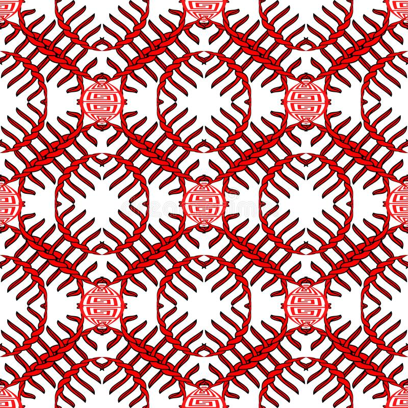 Greek braided knots vector seamless pattern. Black and red abstract ornament on white background. Greek key meanders ornamental royalty free illustration