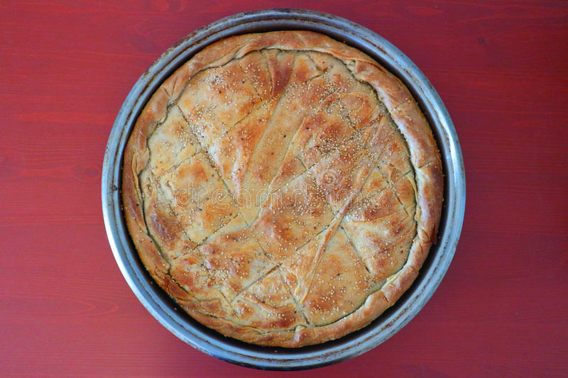 Greek cheese pie with feta stock images