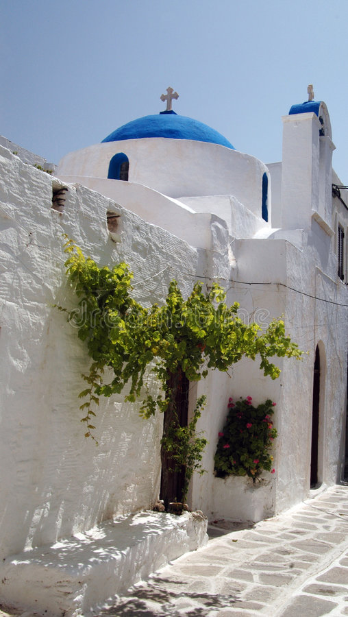 Download Greek Church With  Green Tree Stock Photo - Image: 191310