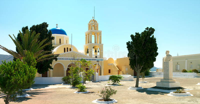 Greek church in the Santorini island royalty free stock photo