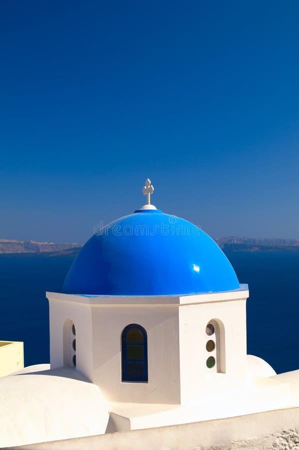Greek church in Santorini island stock image