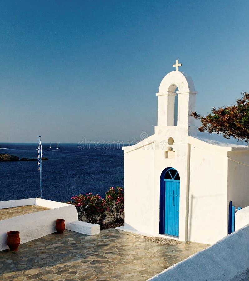 Greek church and sea stock photography