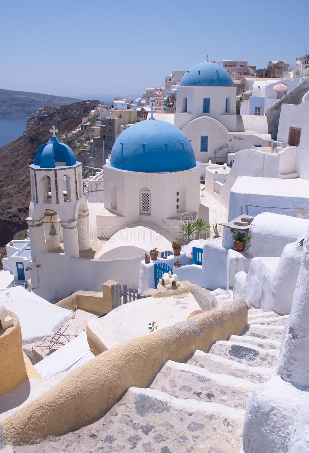 Greek churches with steps stock image