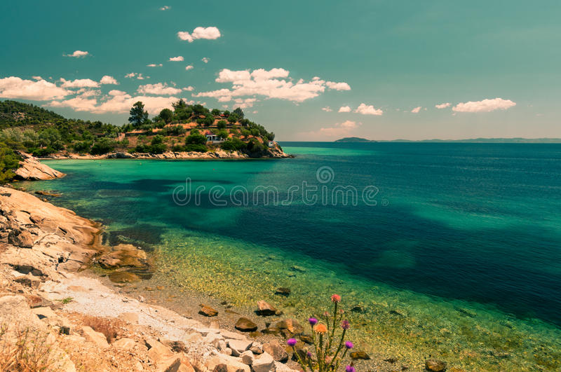 Download Greek coast, tinted image stock photo. Image of rough - 39508024
