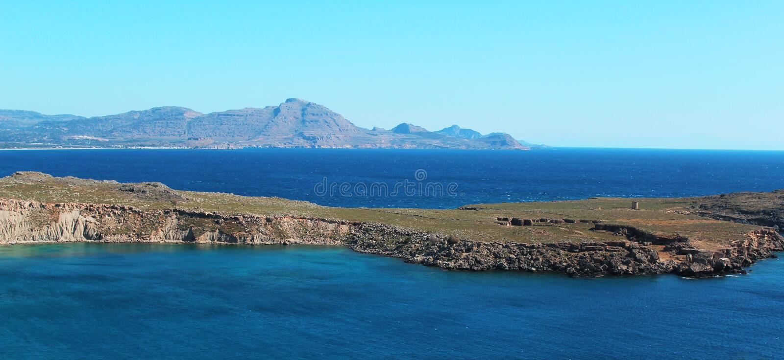 Greek coastal landscape - Rhodes, perfect for commercial royalty free stock photos
