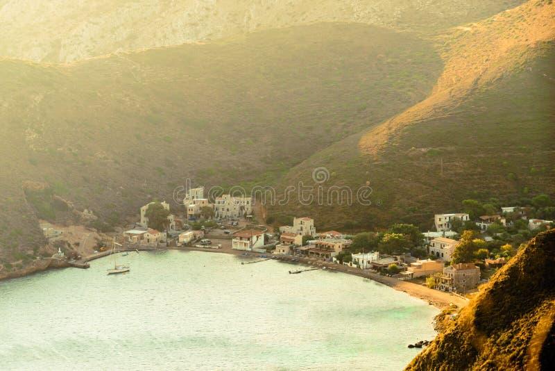 Greek coastline on Peloponnese, Mani Peninsula. Greece Mani Peninsula. Sea landscape rocky coastline with resort village, Peloponnese royalty free stock photo