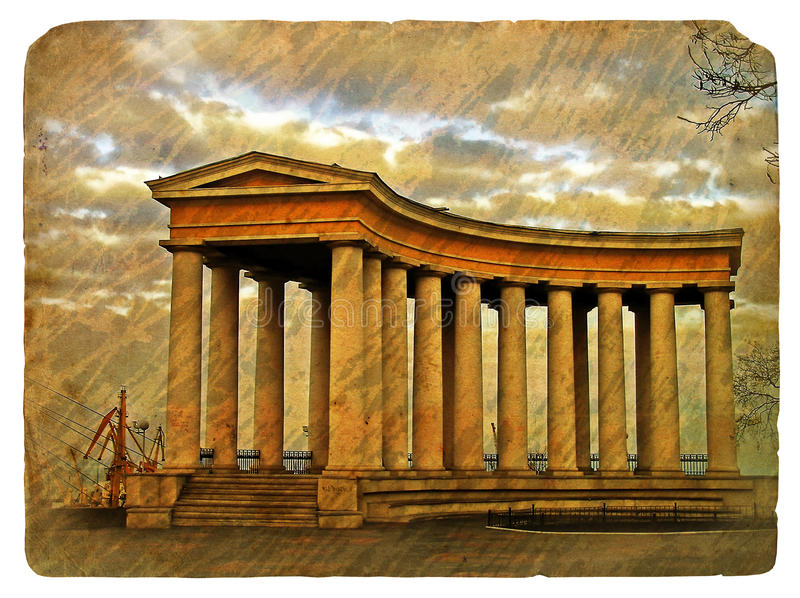 Greek colonnade. Old grunge antique paper texture of Greek colonnade pattern. Old postcard, design in grunge and retro style stock illustration