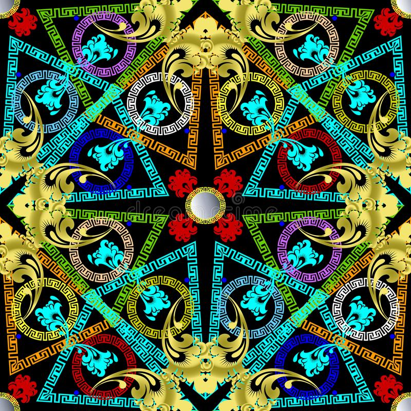 Greek colorful geometric vector seamless pattern. stock illustration