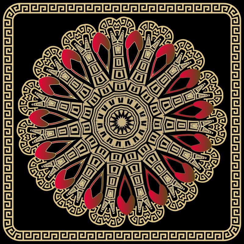 Greek colorful round vector mandala pattern with square frame. Tribal ethnic decorative background. stock illustration