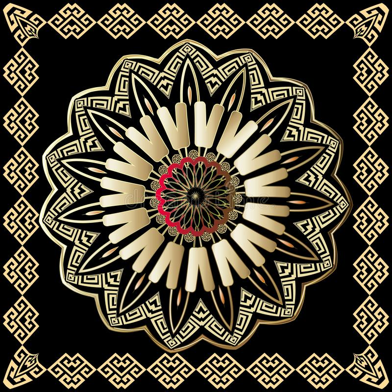 Greek colorful round vector mandala pattern with square frame. Tribal ethnic style decorative royalty free illustration