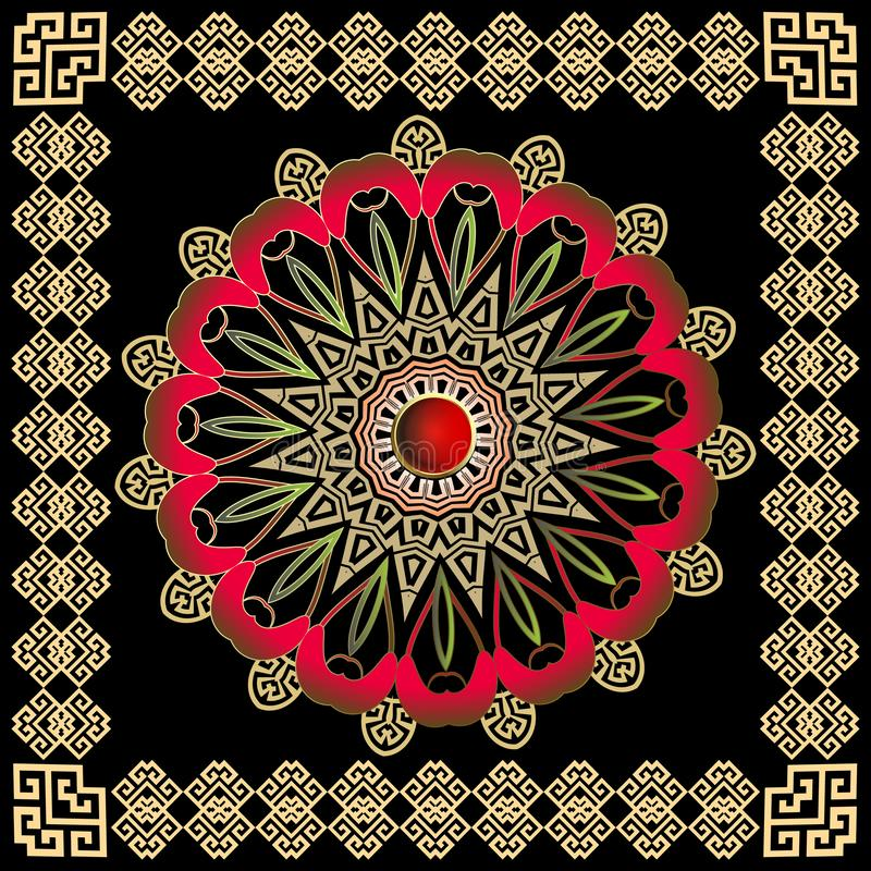 Greek colorful round vector mandala pattern with square frame. Tribal ethnic style decorative background. vector illustration