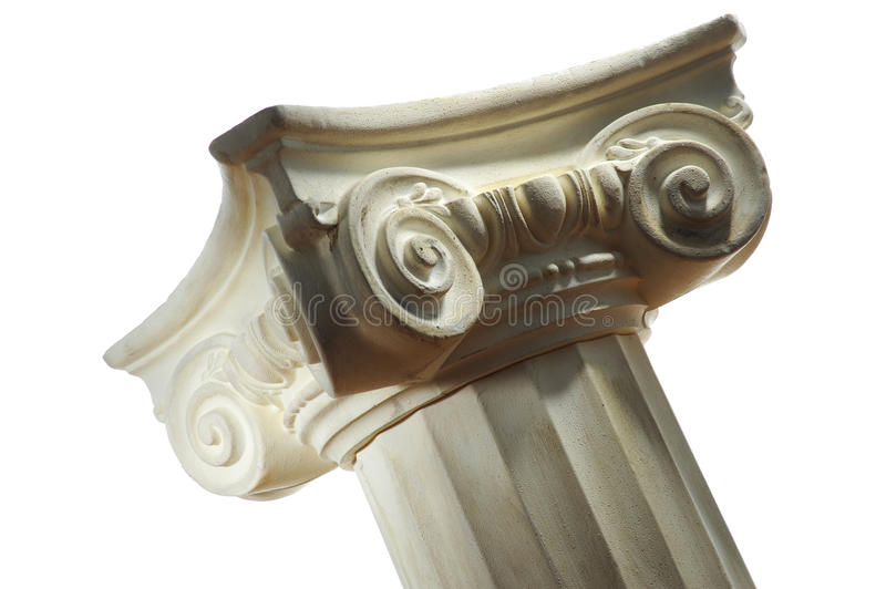 Greek column. Single greek column isolated on white royalty free stock photo