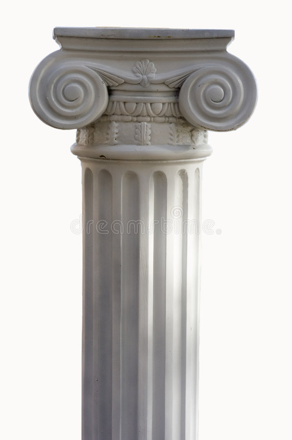 Greek column. Single greek column isolated on white stock photo