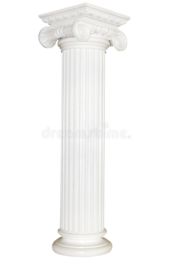 Greek column. Isolated on white royalty free stock image