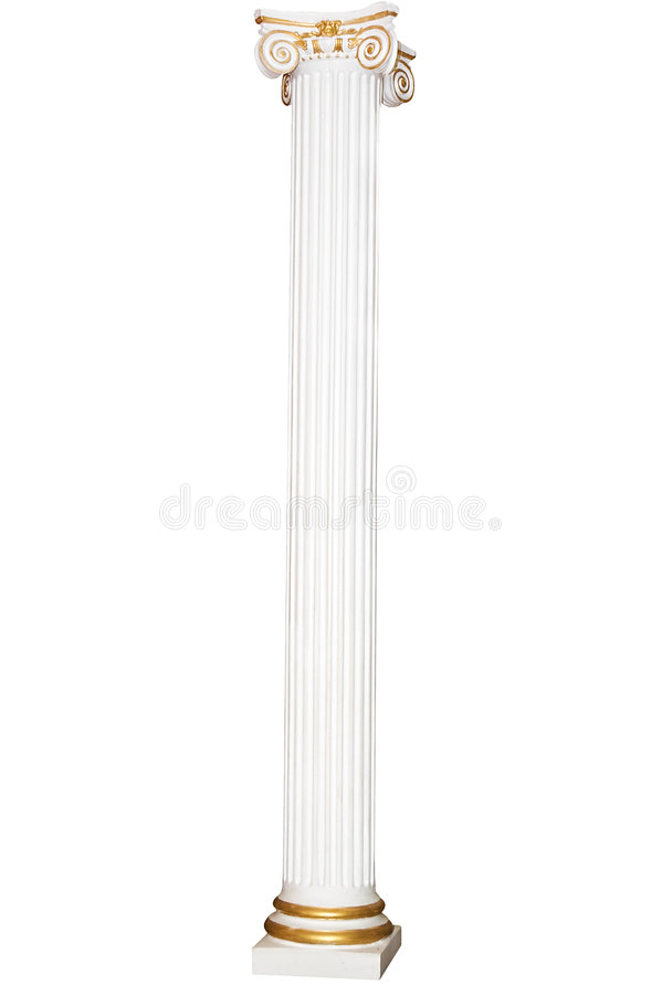 Greek column with golden borders stock photography
