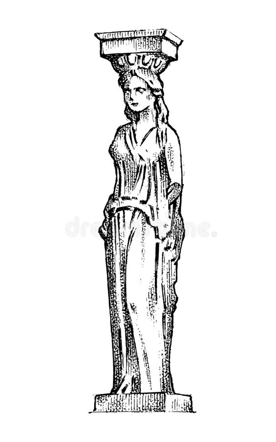 Greek column statue in Greece. Woman in antique old style. Hand drawn engraved vintage sketch for poster, banner or web vector illustration