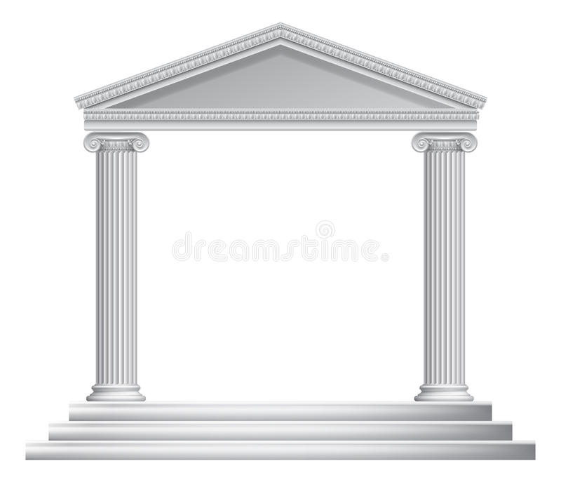 Greek Column Temple. An ancient Roman or Greek temple with pillars or columns stock illustration