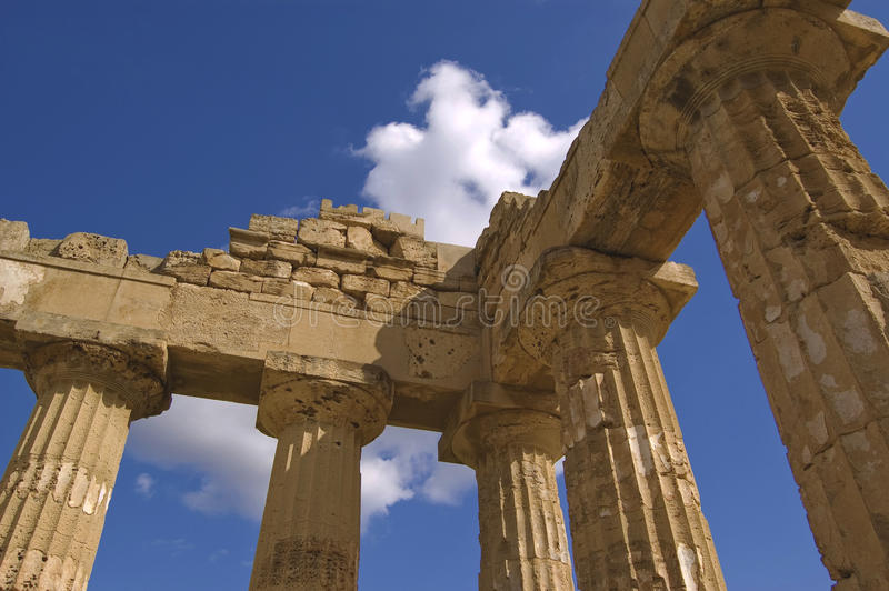 Greek columns. Greek temple in selinute, sicily, italy royalty free stock image