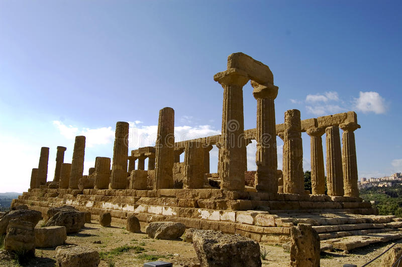 Greek columns. Ruins and columns in the temple's valley, Agrigento, Italy royalty free stock images